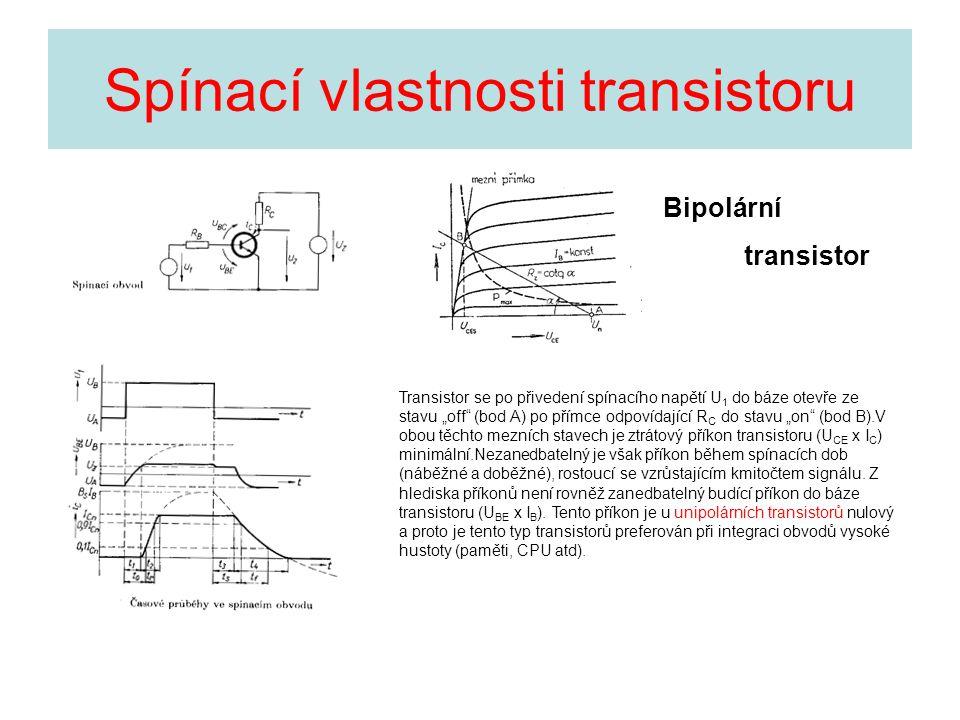 """Spínací vlastnosti transistoru Transistor se po přivedení spínacího napětí U 1 do báze otevře ze stavu """"off"""" (bod A) po přímce odpovídající R C do sta"""