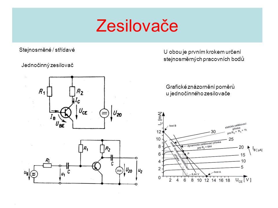 Zesilovače Stejnosměné / střídavé Grafické znázornění poměrů u jednočinného zesilovače U obou je prvním krokem určení stejnosměrných pracovních bo dů