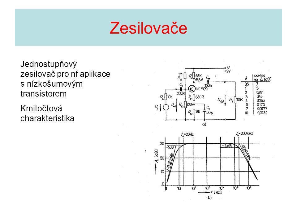 Jednostupňový zesilovač pro nf aplikace s nízkošumovým transistorem Kmitočtová charakteristika