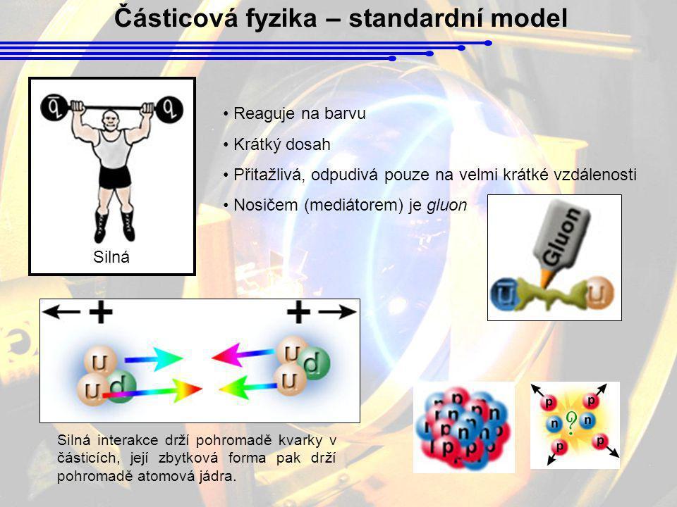 Částicová fyzika – standardní model Silná • Reaguje na barvu • Krátký dosah • Přitažlivá, odpudivá pouze na velmi krátké vzdálenosti • Nosičem (mediát