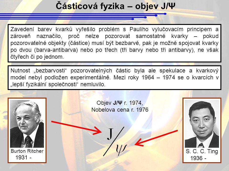 Částicová fyzika – objev J/Ψ Zavedení barev kvarků vyřešilo problém s Pauliho vylučovacím principem a zároveň naznačilo, proč nelze pozorovat samostat
