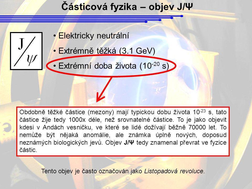Částicová fyzika – objev J/Ψ • Elektricky neutrální • Extrémně těžká (3.1 GeV) • Extrémní doba života (10 -20 s) Obdobně těžké částice (mezony) mají t