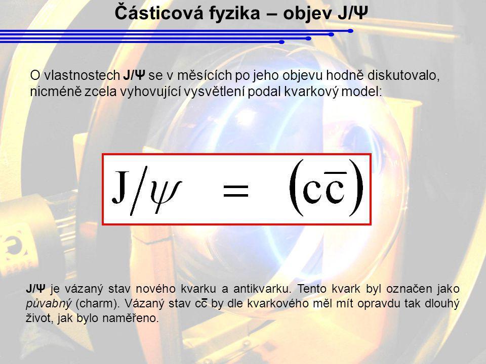 O vlastnostech J/Ψ se v měsících po jeho objevu hodně diskutovalo, nicméně zcela vyhovující vysvětlení podal kvarkový model: Částicová fyzika – objev