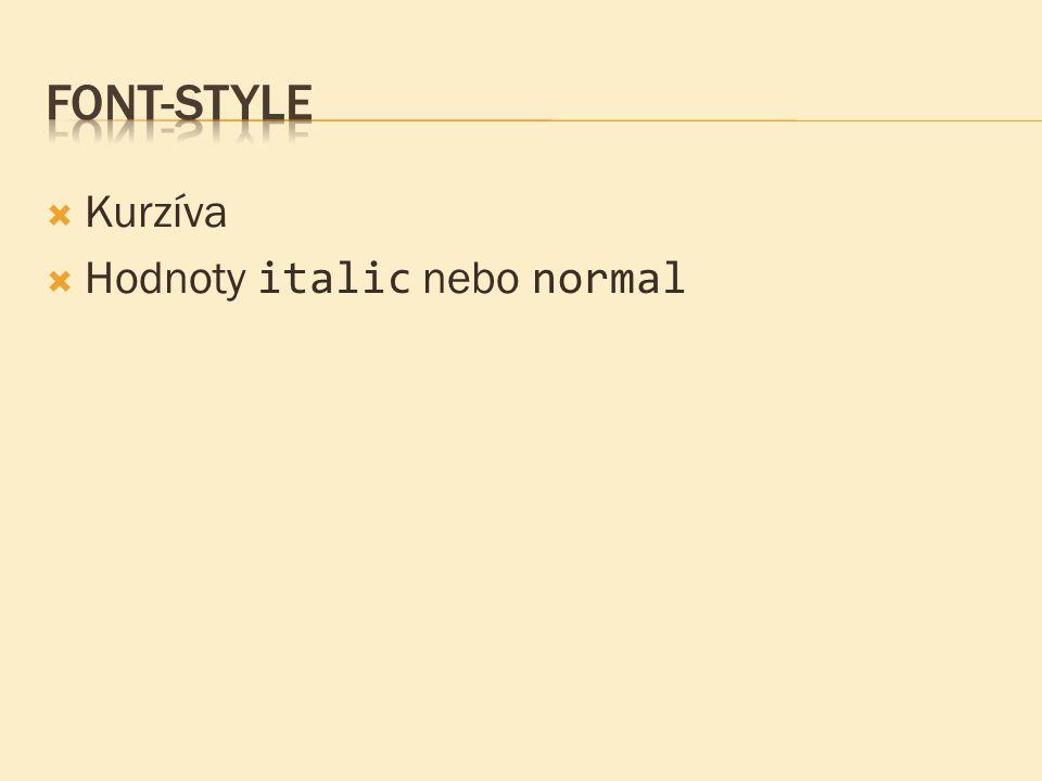  Kurzíva  Hodnoty italic nebo normal