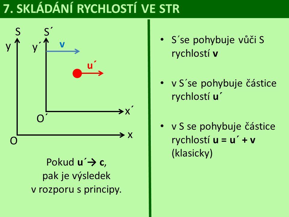 7. SKLÁDÁNÍ RYCHLOSTÍ VE STR S y O S´ y´ v u´ x x´ O´ • S´se pohybuje vůči S rychlostí v • v S´se pohybuje částice rychlostí u´ • v S se pohybuje část