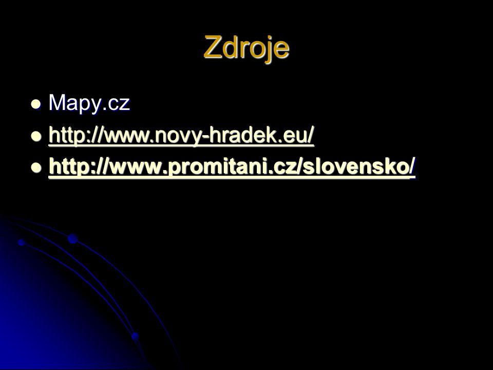 Zdroje  Mapy.cz  http://www.novy-hradek.eu/ http://www.novy-hradek.eu/  http://www.promitani.cz/slovensko/ http://www.promitani.cz/slovensko/ http: