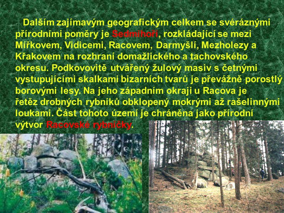 Dalším zajímavým geografickým celkem se svéráznými přírodními poměry je Sedmihoří, rozkládající se mezi Mířkovem, Vidicemi, Racovem, Darmyšlí, Mezhole