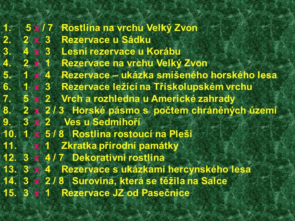 1. 5 x / 7 Rostlina na vrchu Velký Zvon 2. 2 x 3 Rezervace u Sádku 3. 4 x 3 Lesní rezervace u Korábu 4. 2 x 1 Rezervace na vrchu Velký Zvon 5. 1 x 4 R