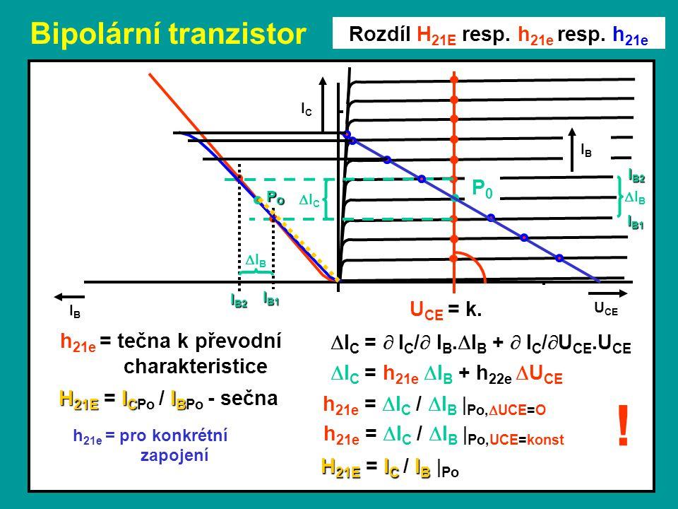 Bipolární tranzistor U CE ICIC IBIB Rozdíl H 21E resp. h 21e resp. h 21e P0P0 IBIB ICIC  I C = h 21e  I B + h 22e  U CE  I C =  I C /  I B.
