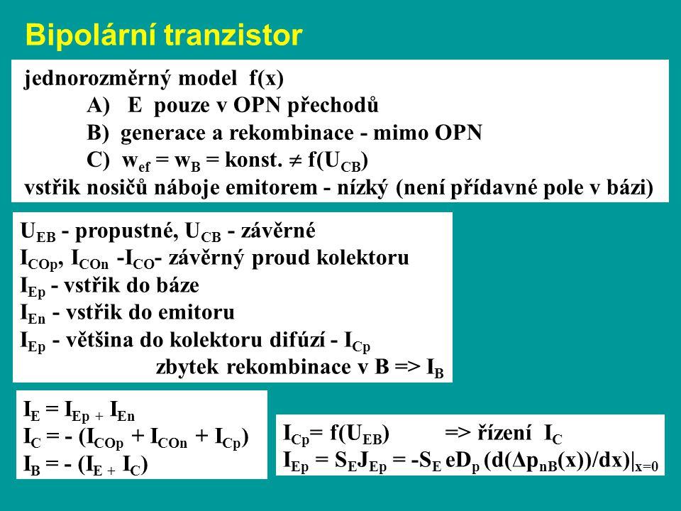 jednorozměrný model f(x) A) E pouze v OPN přechodů B) generace a rekombinace - mimo OPN C) w ef = w B = konst.  f(U CB ) vstřik nosičů náboje emitore
