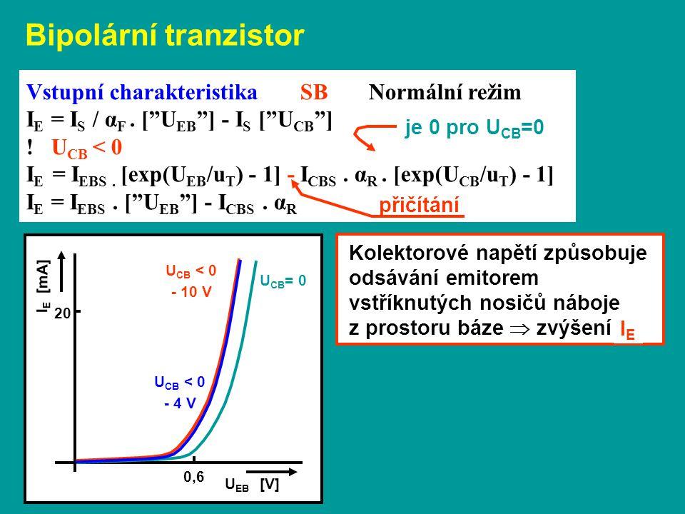 """I E [mA] 20 U EB [V] 0,6 Vstupní charakteristika SBNormální režim I E = I S / α F. [""""U EB """"] - I S [""""U CB """"] ! U CB < 0 I E = I EBS. [exp(U EB /u T )"""