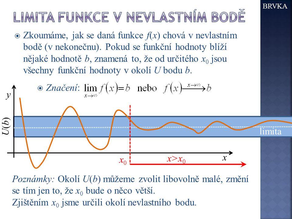 BRVKA y x U(b)U(b) x0x0 x>x0x>x0 Poznámky: Okolí U(b) můžeme zvolit libovolně malé, změní se tím jen to, že x 0 bude o něco větší. Zjištěním x 0 jsme