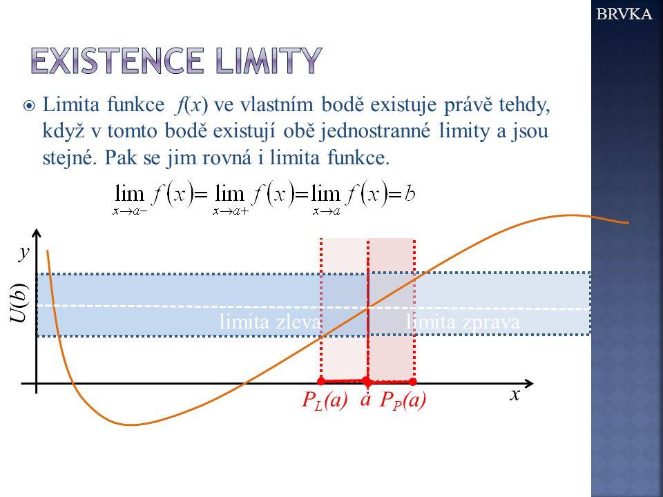 BRVKA  Limita funkce f(x) ve vlastním bodě existuje právě tehdy, když v tomto bodě existují obě jednostranné limity a jsou stejné. Pak se jim rovná i