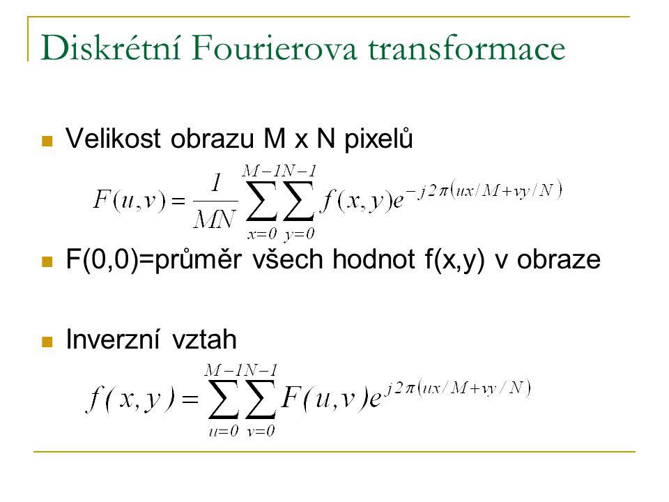 Diskrétní Fourierova transformace  Velikost obrazu M x N pixelů  F(0,0)=průměr všech hodnot f(x,y) v obraze  Inverzní vztah