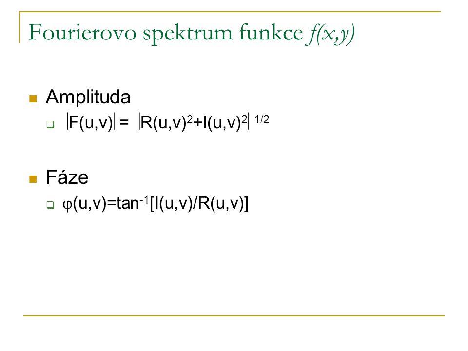 Fourierovo spektrum funkce f(x,y)  Amplituda   F(u,v)  =  R(u,v) 2 +I(u,v) 2  1/2  Fáze   (u,v)=tan -1 [I(u,v)/R(u,v)]