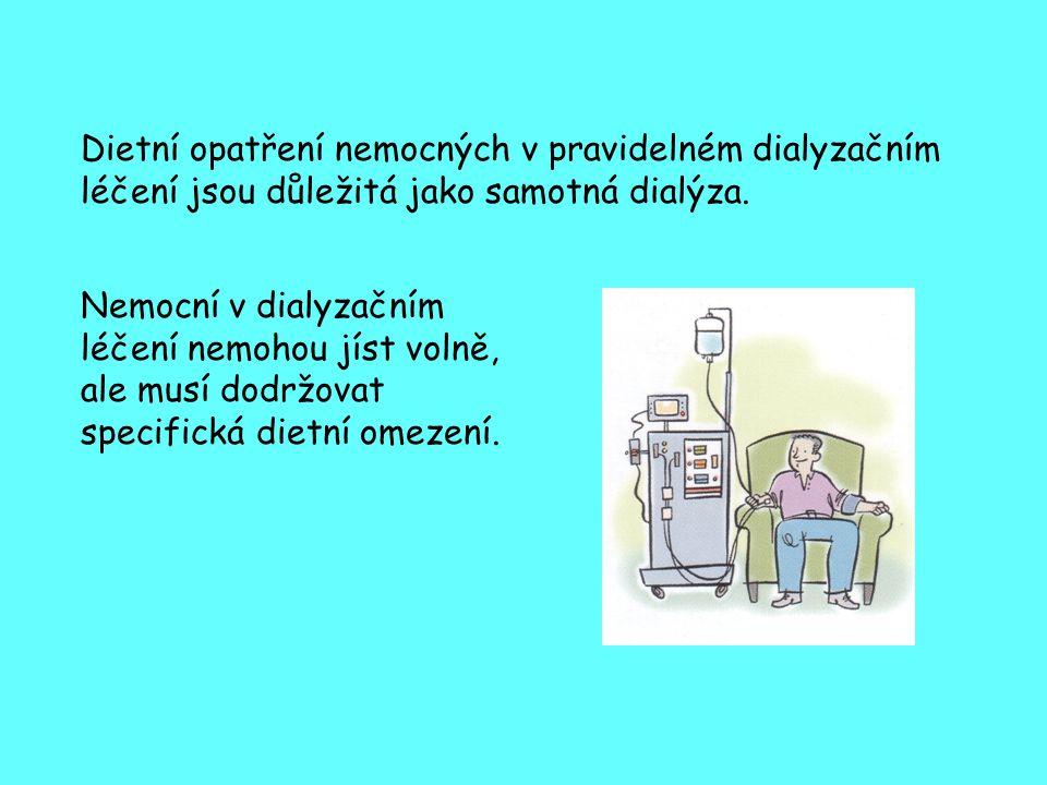 Dieta u dialyzovaných pacientů musí na jedné straně respektovat omezení (např.