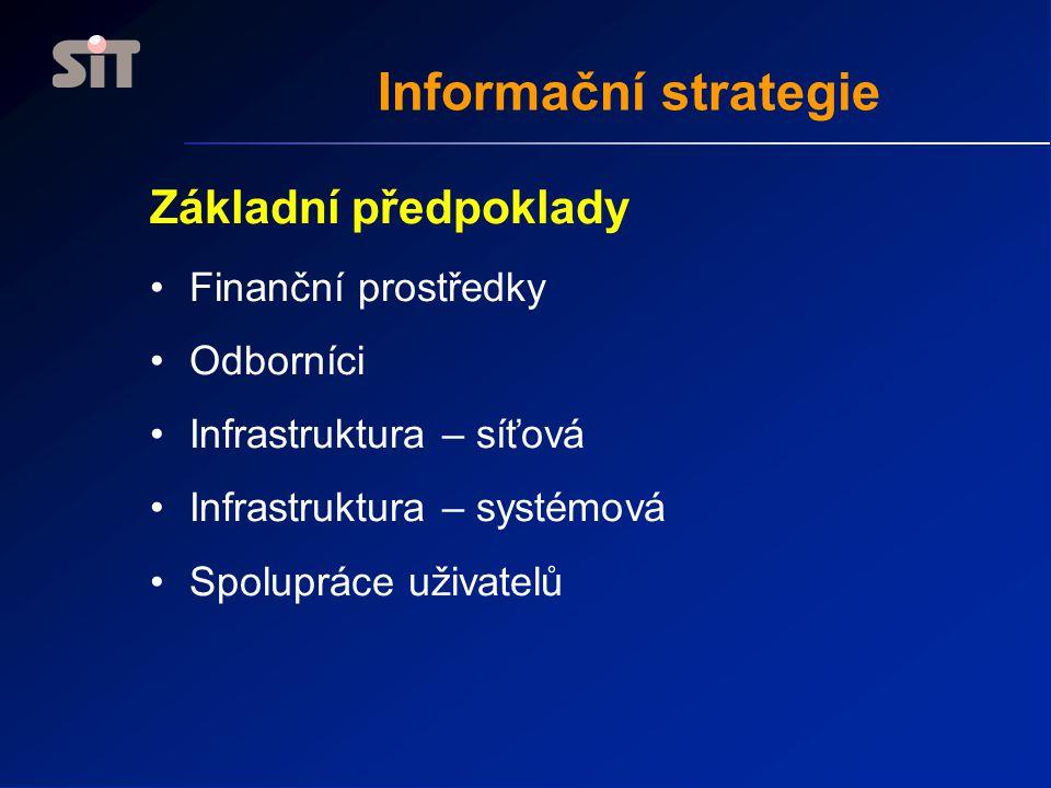 Základní předpoklady •Finanční prostředky •Odborníci •Infrastruktura – síťová •Infrastruktura – systémová •Spolupráce uživatelů