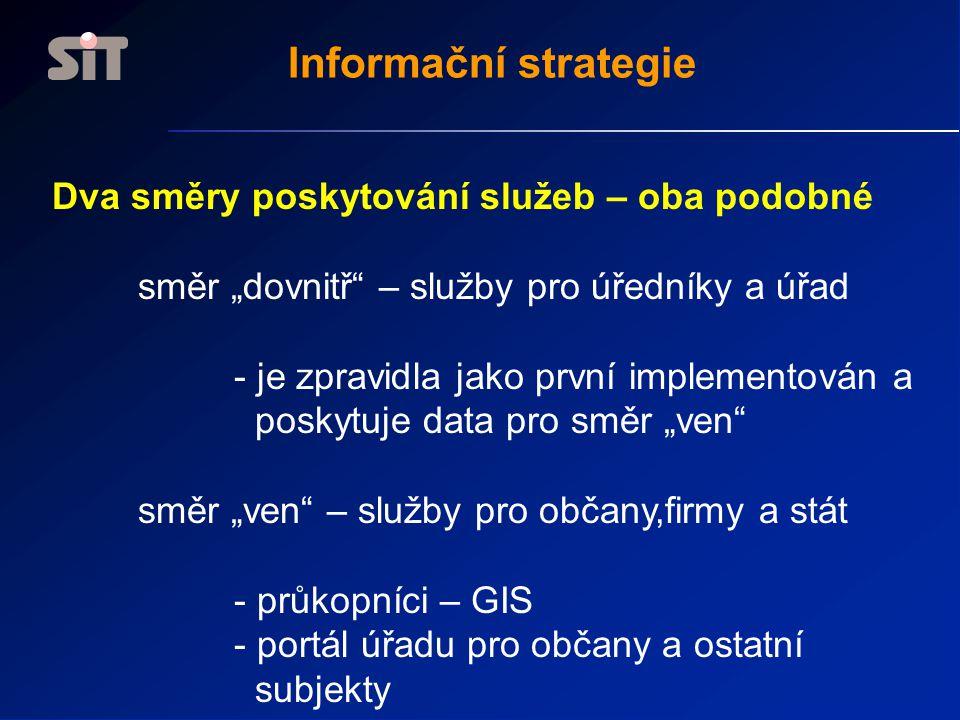 """Informační strategie Dva směry poskytování služeb – oba podobné směr """"dovnitř – služby pro úředníky a úřad - je zpravidla jako první implementován a poskytuje data pro směr """"ven směr """"ven – služby pro občany,firmy a stát - průkopníci – GIS - portál úřadu pro občany a ostatní subjekty"""