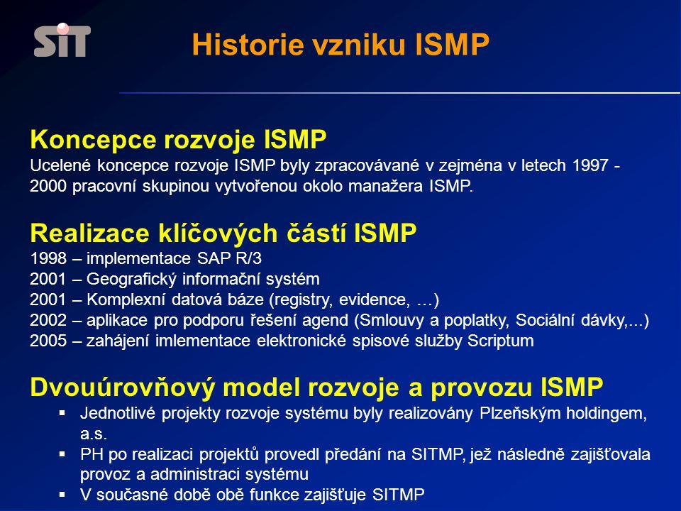 Historie vzniku ISMP Koncepce rozvoje ISMP Ucelené koncepce rozvoje ISMP byly zpracovávané v zejména v letech 1997 - 2000 pracovní skupinou vytvořenou