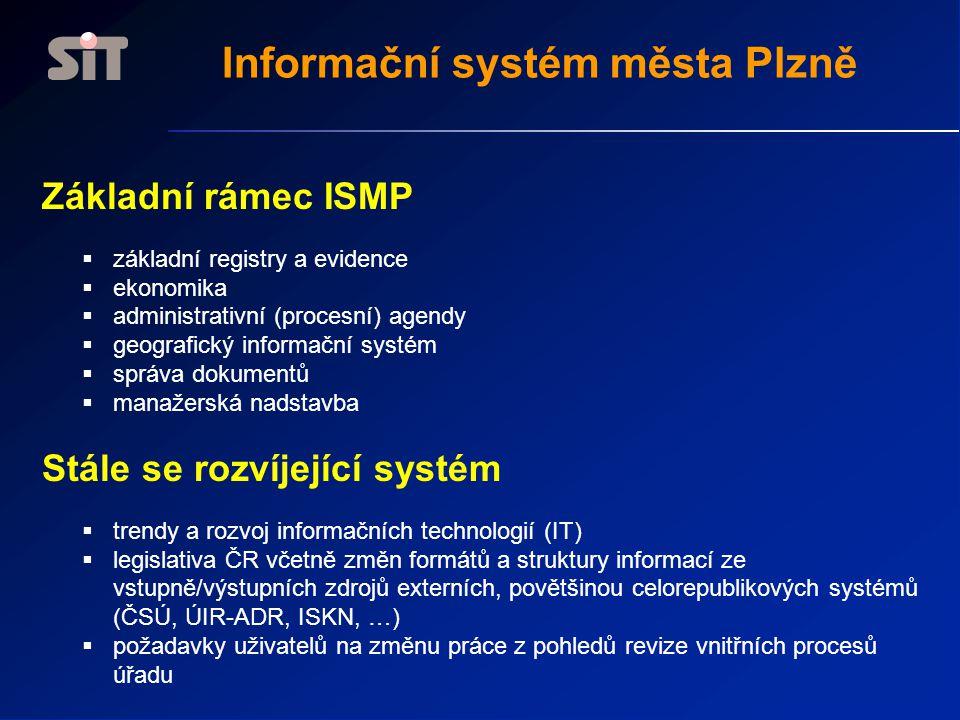Základní koncepční dokumenty základní analytické a koncepční materiály  analýza MMP - procesy / 1994  projekt digitální technické mapy města Plzně / 1994  úvodní studie Komplexní báze dat / březen 1996  koncept implementace systému SAP R/3 v prostředí města Plzně / říjen 1998  analýza řešení GIS / 1999  rozvojový projekt ISMP / 1999  koncepce procesních aplikací / 2000  koncepce Komplexní datové báze / květen 2001  koncepce správy dokumentů / 2001  podkladová analýza pro vytvoření Portálu úředníka a občana a analýza využití informačního systému města Plzně pro Portál úředníka a občana / 2004  Strategie rozvoje a provozu prostředků VT vždy na 4 roky