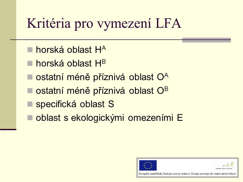 Kritéria pro vymezení LFA  horská oblast H A  horská oblast H B  ostatní méně příznivá oblast O A  ostatní méně příznivá oblast O B  specifická oblast S  oblast s ekologickými omezeními E
