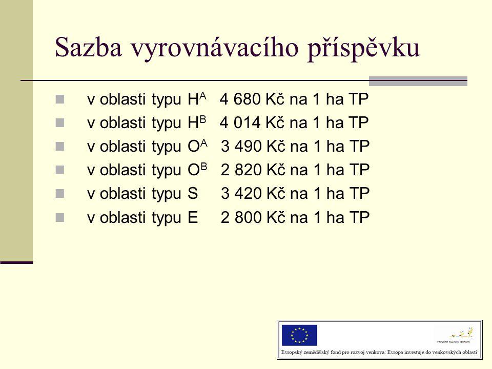 Sazba vyrovnávacího příspěvku  v oblasti typu H A 4 680 Kč na 1 ha TP  v oblasti typu H B 4 014 Kč na 1 ha TP  v oblasti typu O A 3 490 Kč na 1 ha TP  v oblasti typu O B 2 820 Kč na 1 ha TP  v oblasti typu S 3 420 Kč na 1 ha TP  v oblasti typu E 2 800 Kč na 1 ha TP