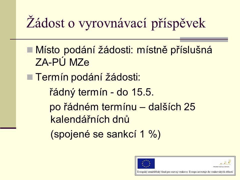 Žádost o vyrovnávací příspěvek  Místo podání žádosti: místně příslušná ZA-PÚ MZe  Termín podání žádosti: řádný termín - do 15.5.