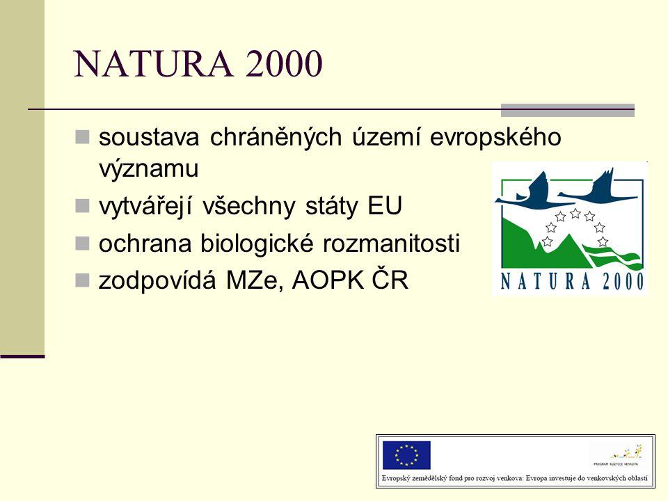  soustava chráněných území evropského významu  vytvářejí všechny státy EU  ochrana biologické rozmanitosti  zodpovídá MZe, AOPK ČR