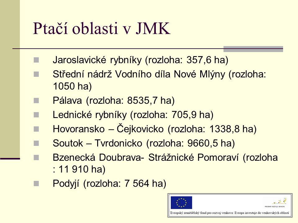 Ptačí oblasti v JMK  Jaroslavické rybníky (rozloha: 357,6 ha)  Střední nádrž Vodního díla Nové Mlýny (rozloha: 1050 ha)  Pálava (rozloha: 8535,7 ha)  Lednické rybníky (rozloha: 705,9 ha)  Hovoransko – Čejkovicko (rozloha: 1338,8 ha)  Soutok – Tvrdonicko (rozloha: 9660,5 ha)  Bzenecká Doubrava- Strážnické Pomoraví (rozloha : 11 910 ha)  Podyjí (rozloha: 7 564 ha)