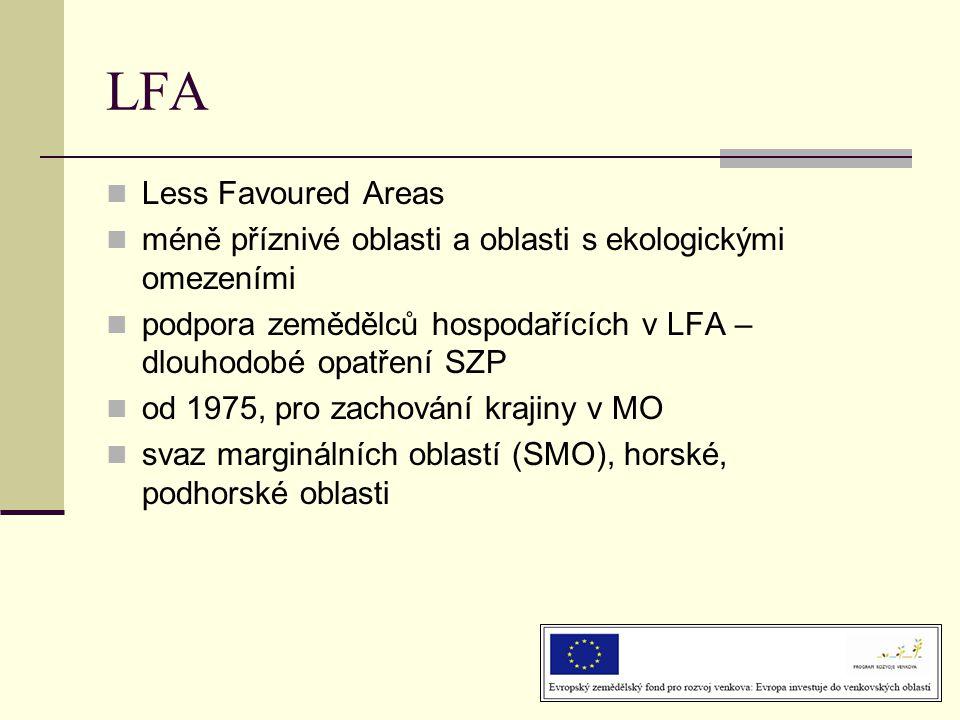  Less Favoured Areas  méně příznivé oblasti a oblasti s ekologickými omezeními  podpora zemědělců hospodařících v LFA – dlouhodobé opatření SZP  od 1975, pro zachování krajiny v MO  svaz marginálních oblastí (SMO), horské, podhorské oblasti