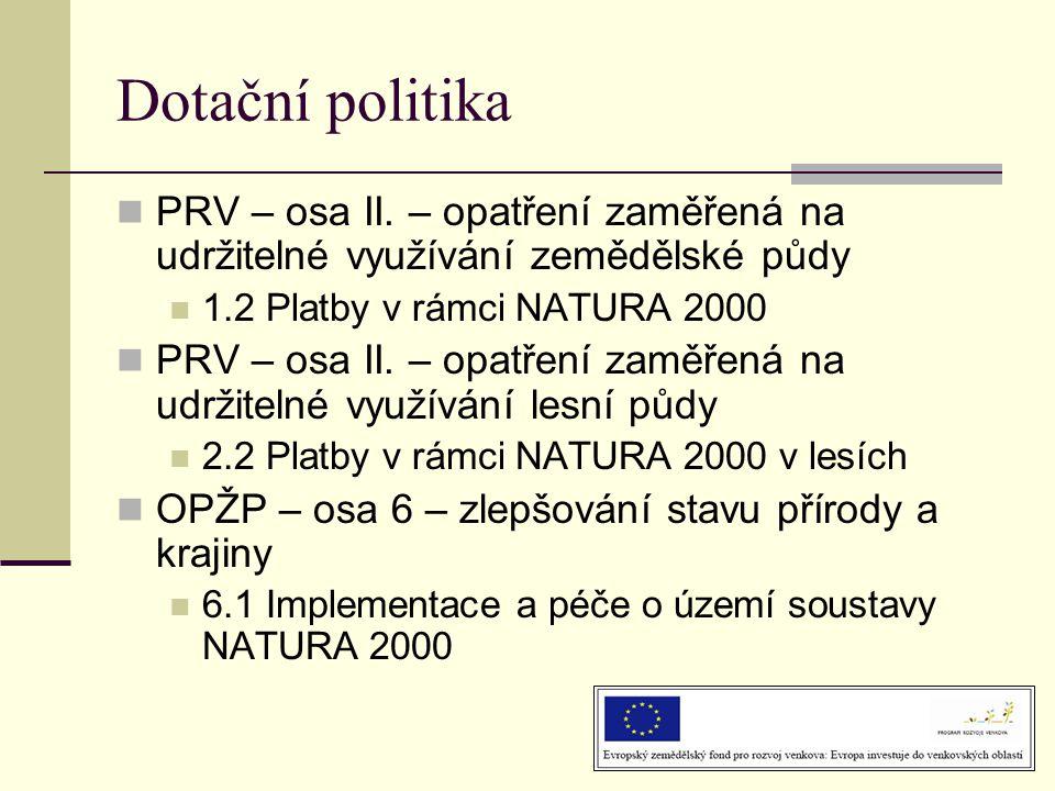 Dotační politika  PRV – osa II. – opatření zaměřená na udržitelné využívání zemědělské půdy  1.2 Platby v rámci NATURA 2000  PRV – osa II. – opatře