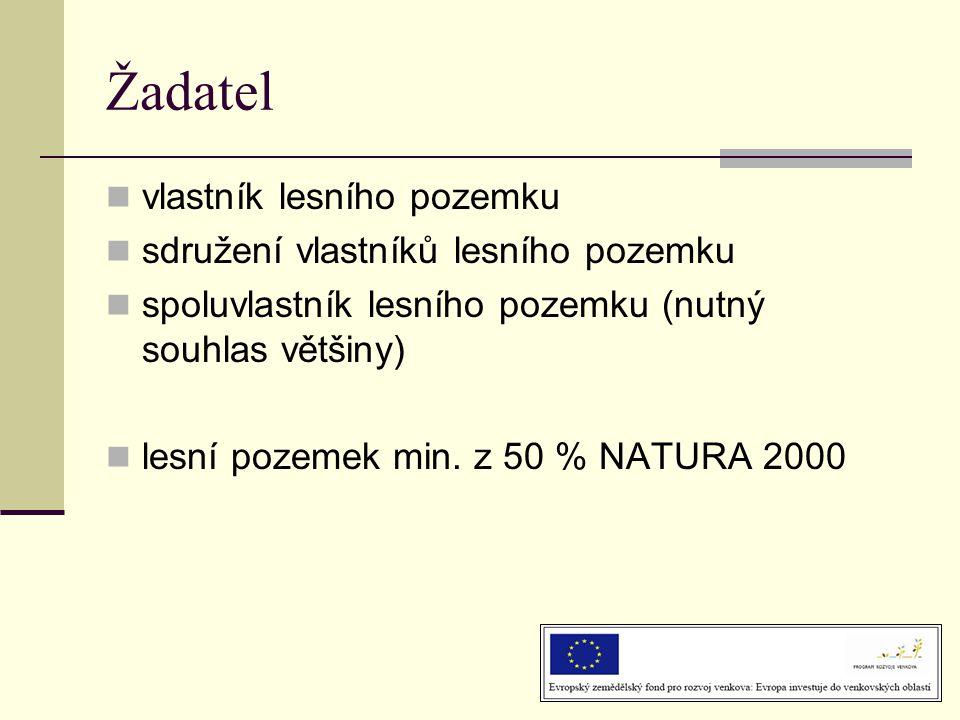 Žadatel  vlastník lesního pozemku  sdružení vlastníků lesního pozemku  spoluvlastník lesního pozemku (nutný souhlas většiny)  lesní pozemek min.