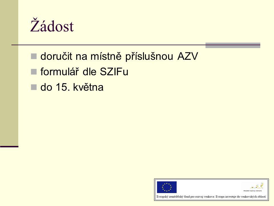 Žádost  doručit na místně příslušnou AZV  formulář dle SZIFu  do 15. května