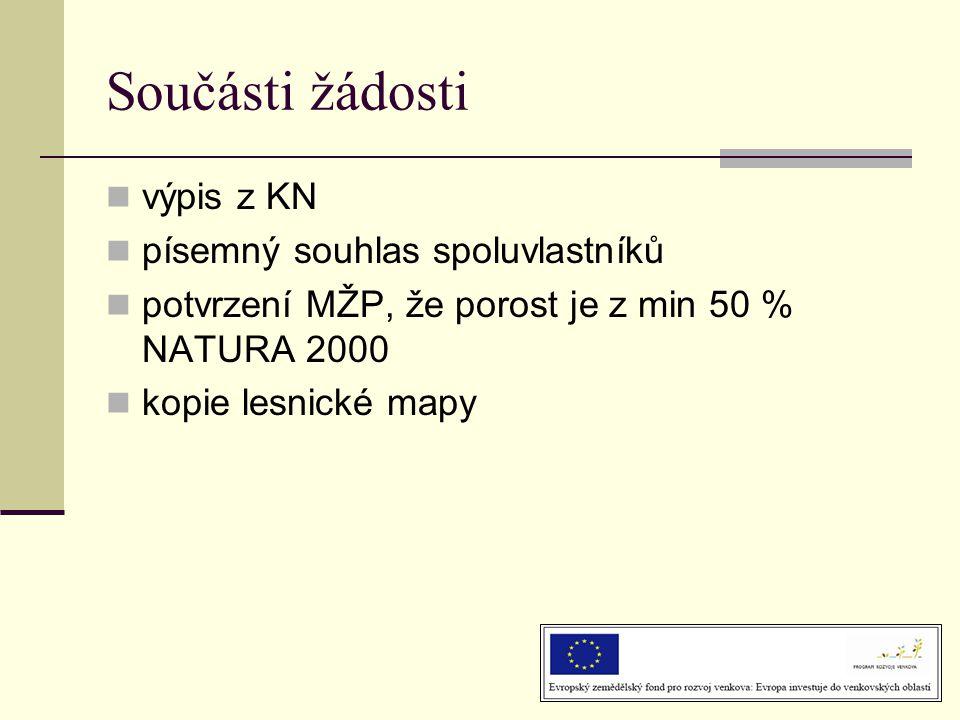 Součásti žádosti  výpis z KN  písemný souhlas spoluvlastníků  potvrzení MŽP, že porost je z min 50 % NATURA 2000  kopie lesnické mapy