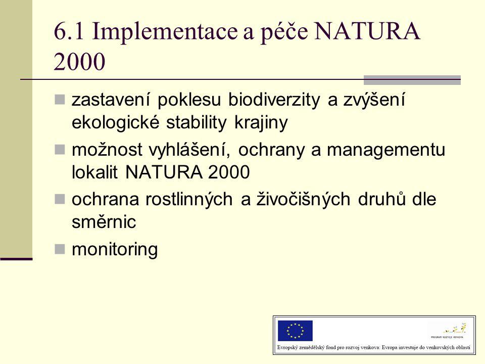 6.1 Implementace a péče NATURA 2000  zastavení poklesu biodiverzity a zvýšení ekologické stability krajiny  možnost vyhlášení, ochrany a managementu