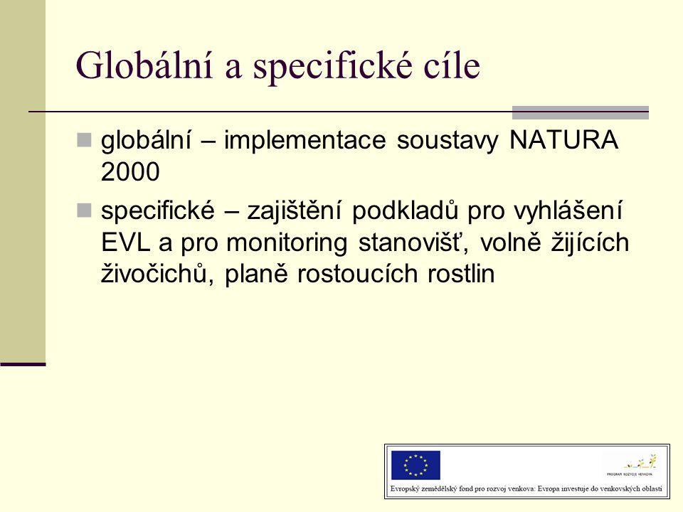 Globální a specifické cíle  globální – implementace soustavy NATURA 2000  specifické – zajištění podkladů pro vyhlášení EVL a pro monitoring stanovišť, volně žijících živočichů, planě rostoucích rostlin