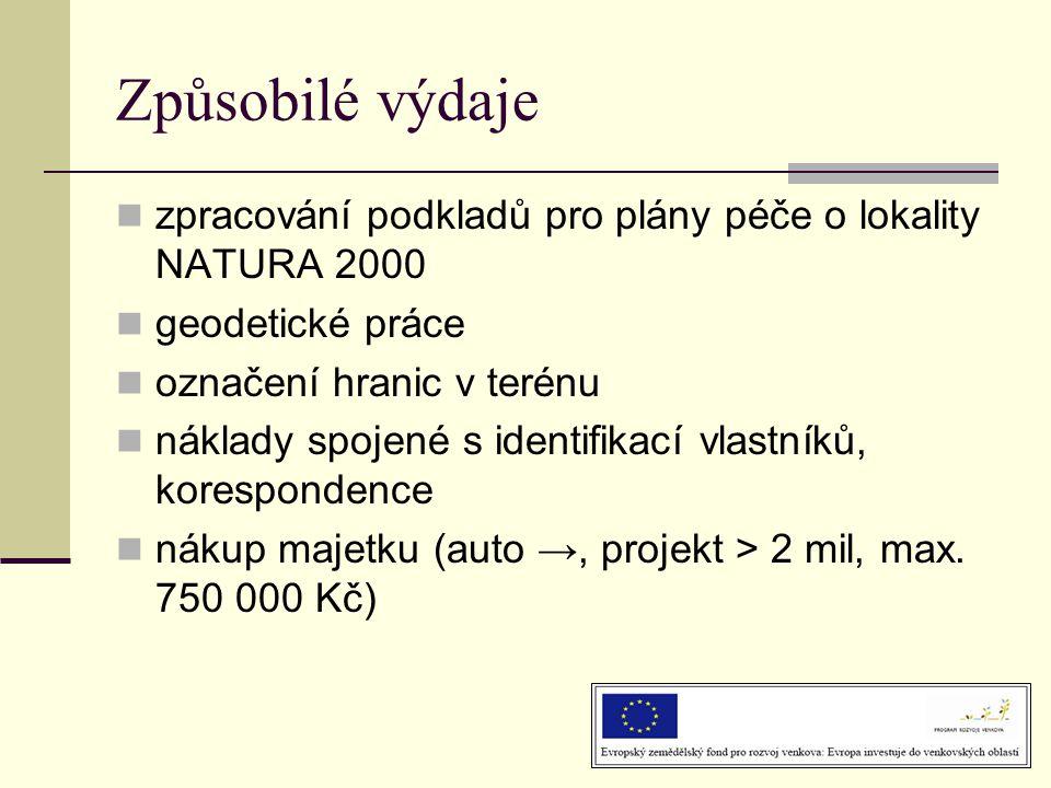 Způsobilé výdaje  zpracování podkladů pro plány péče o lokality NATURA 2000  geodetické práce  označení hranic v terénu  náklady spojené s identif