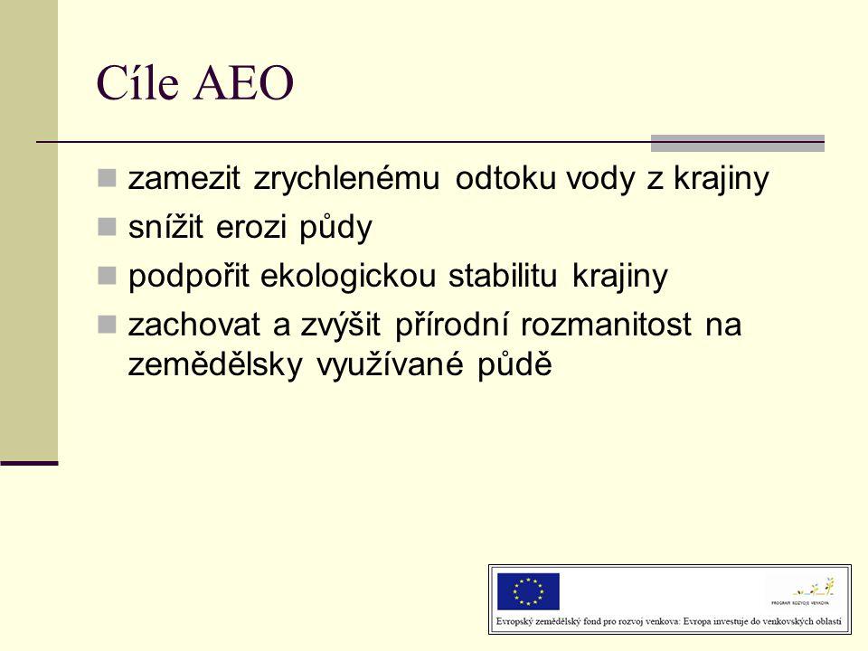 Cíle AEO  zamezit zrychlenému odtoku vody z krajiny  snížit erozi půdy  podpořit ekologickou stabilitu krajiny  zachovat a zvýšit přírodní rozmanitost na zemědělsky využívané půdě