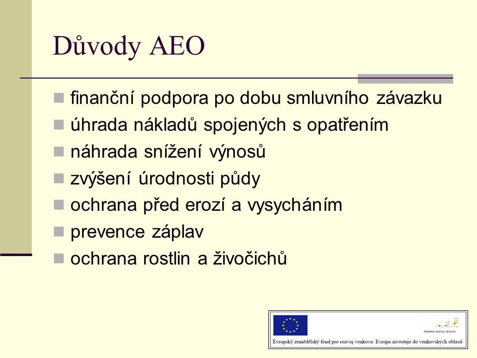 Důvody AEO  finanční podpora po dobu smluvního závazku  úhrada nákladů spojených s opatřením  náhrada snížení výnosů  zvýšení úrodnosti půdy  ochrana před erozí a vysycháním  prevence záplav  ochrana rostlin a živočichů