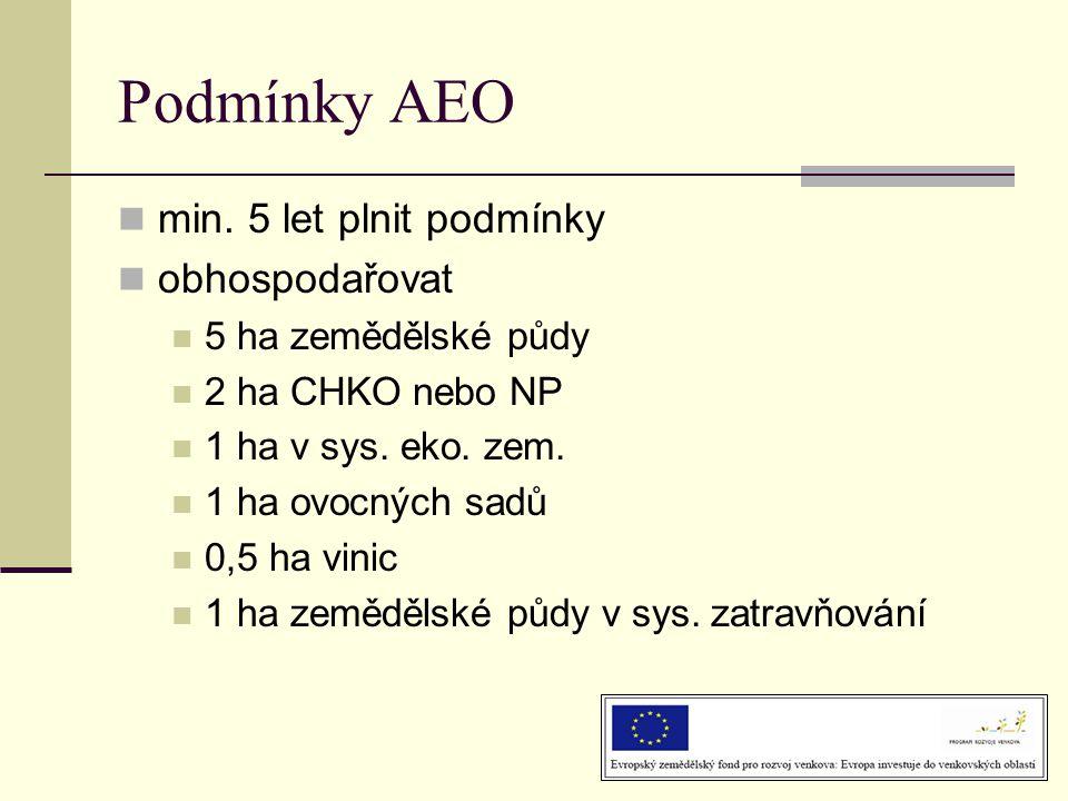 Podmínky AEO  min. 5 let plnit podmínky  obhospodařovat  5 ha zemědělské půdy  2 ha CHKO nebo NP  1 ha v sys. eko. zem.  1 ha ovocných sadů  0,