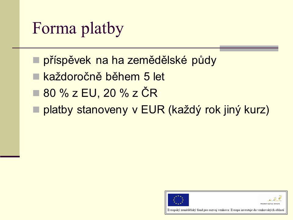 Forma platby  příspěvek na ha zemědělské půdy  každoročně během 5 let  80 % z EU, 20 % z ČR  platby stanoveny v EUR (každý rok jiný kurz)