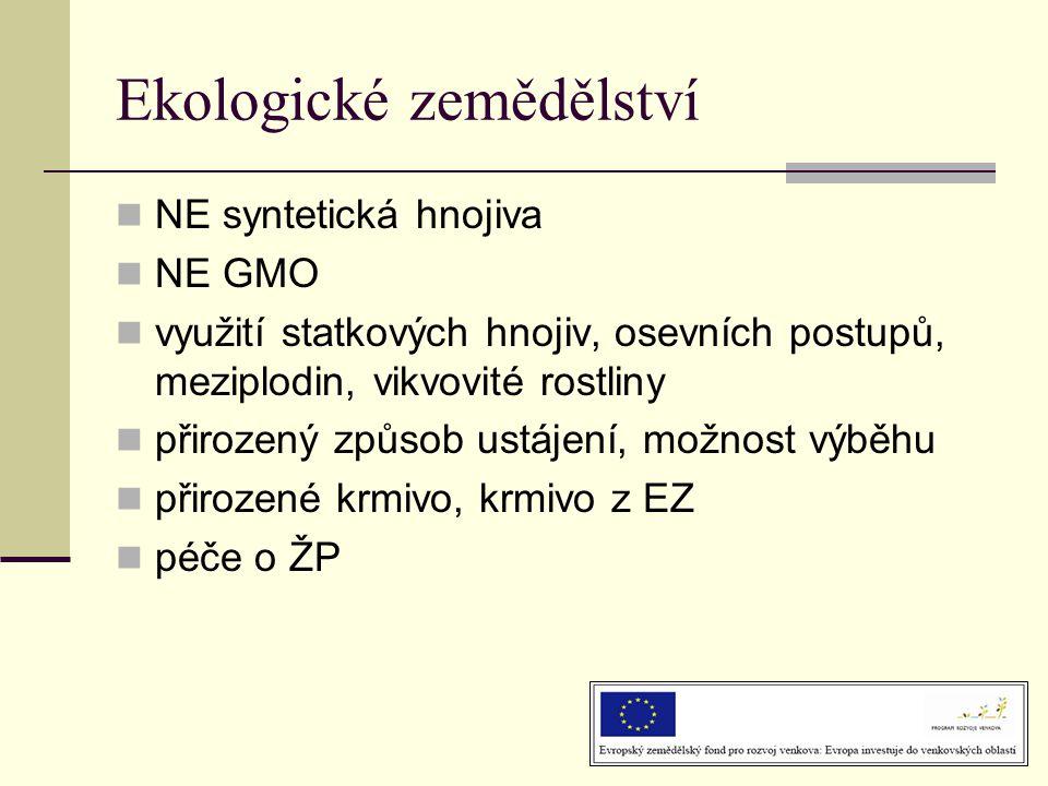 Ekologické zemědělství  NE syntetická hnojiva  NE GMO  využití statkových hnojiv, osevních postupů, meziplodin, vikvovité rostliny  přirozený způsob ustájení, možnost výběhu  přirozené krmivo, krmivo z EZ  péče o ŽP