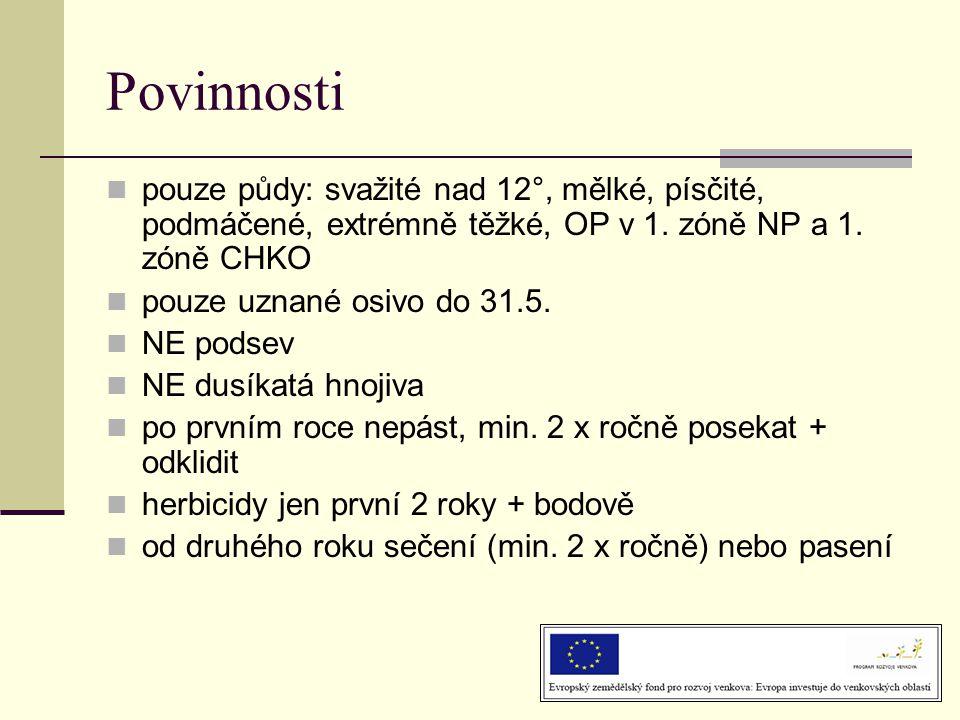Povinnosti  pouze půdy: svažité nad 12°, mělké, písčité, podmáčené, extrémně těžké, OP v 1. zóně NP a 1. zóně CHKO  pouze uznané osivo do 31.5.  NE