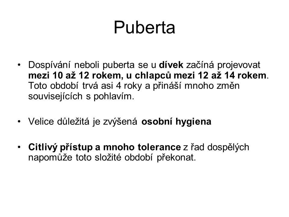 Puberta •Dospívání neboli puberta se u dívek začíná projevovat mezi 10 až 12 rokem, u chlapců mezi 12 až 14 rokem. Toto období trvá asi 4 roky a přiná