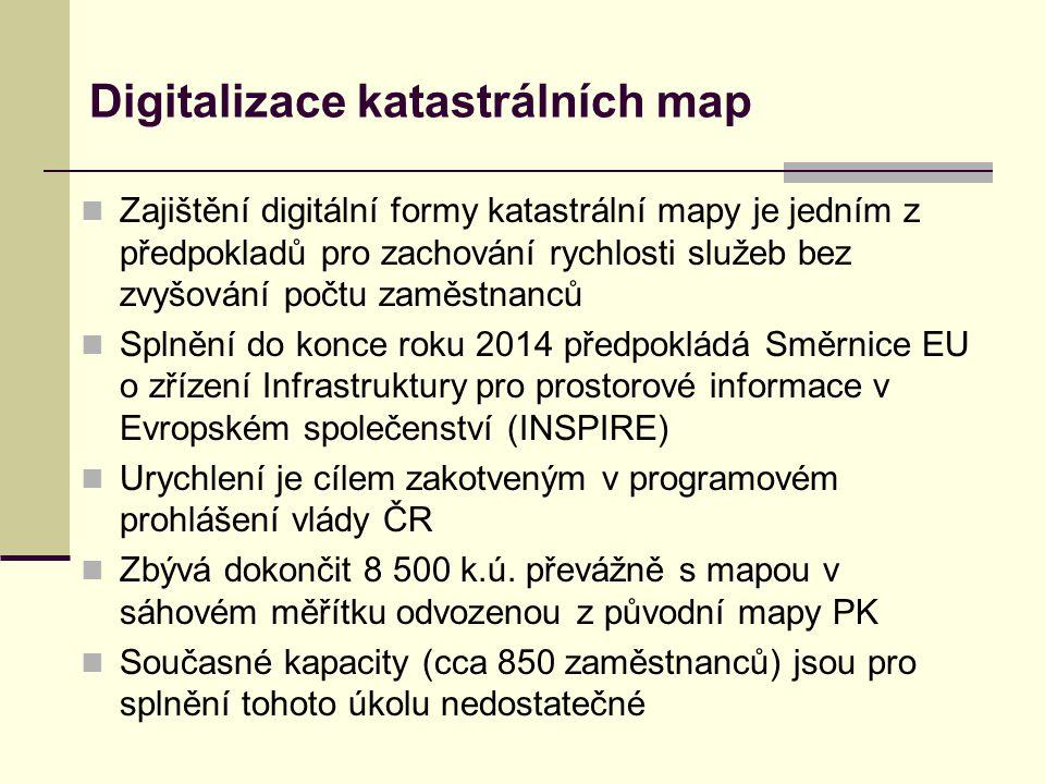  Zajištění digitální formy katastrální mapy je jedním z předpokladů pro zachování rychlosti služeb bez zvyšování počtu zaměstnanců  Splnění do konce roku 2014 předpokládá Směrnice EU o zřízení Infrastruktury pro prostorové informace v Evropském společenství (INSPIRE)  Urychlení je cílem zakotveným v programovém prohlášení vlády ČR  Zbývá dokončit 8 500 k.ú.