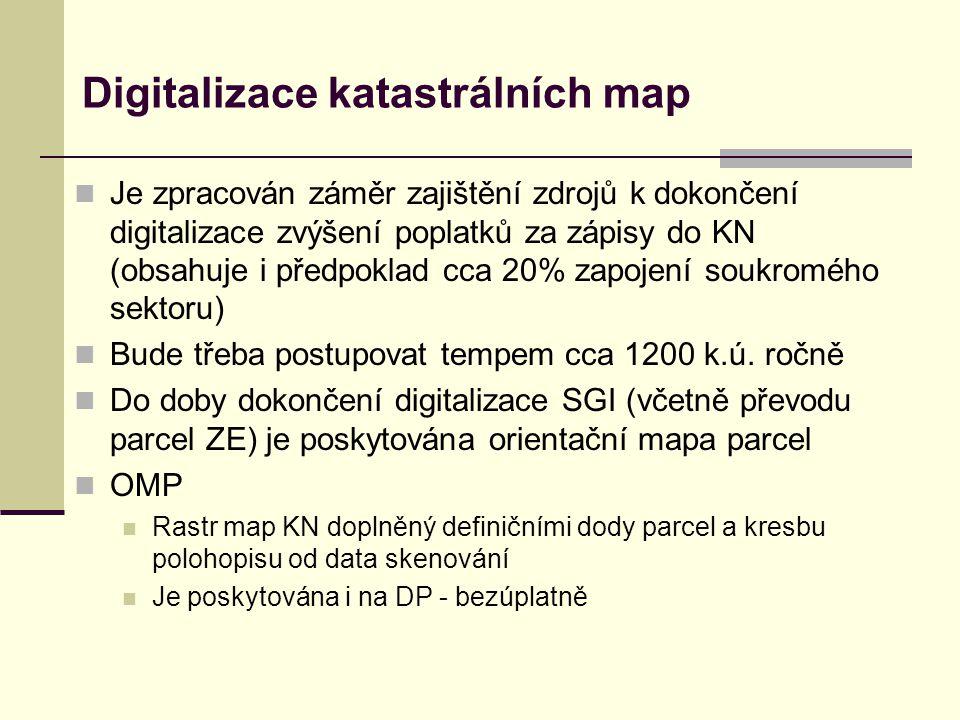 Digitalizace katastrálních map  Je zpracován záměr zajištění zdrojů k dokončení digitalizace zvýšení poplatků za zápisy do KN (obsahuje i předpoklad cca 20% zapojení soukromého sektoru)  Bude třeba postupovat tempem cca 1200 k.ú.