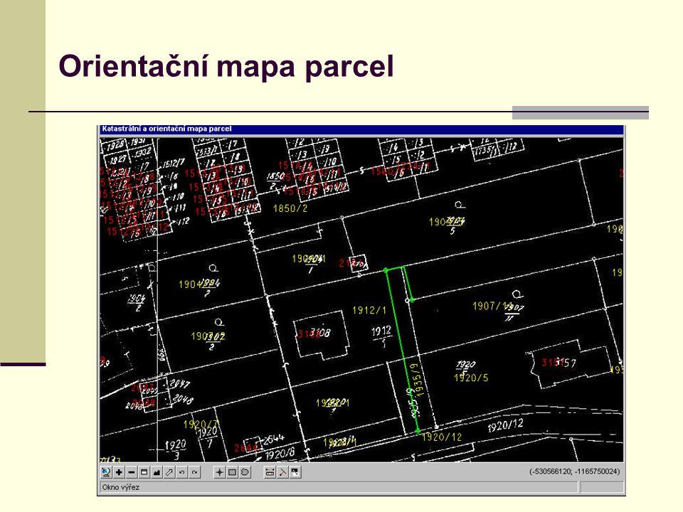 Orientační mapa parcel