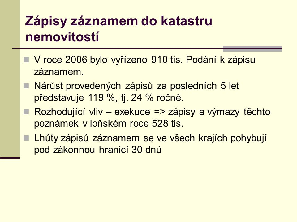 Zápisy záznamem - ČR 2004-2007