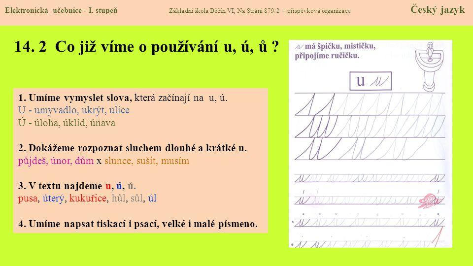 14.3 Jaké si řekneme nové termíny a názvy. TERMÍNY U je samohláska.