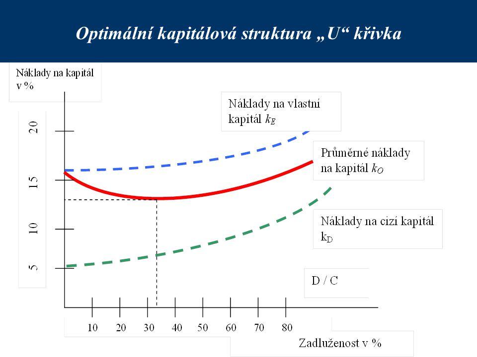 """Optimální kapitálová struktura """"U"""" křivka"""